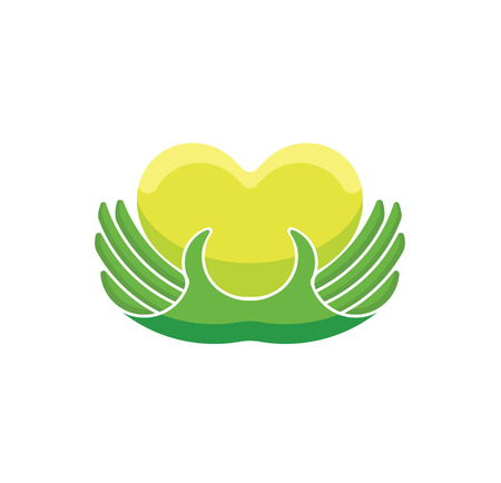 Charity concept logo. Donor holding heart in their hands.Vector illustration flat design.Isolated on white background. Volunteer green icon.Human helping. Healthcare.Team work Illustration