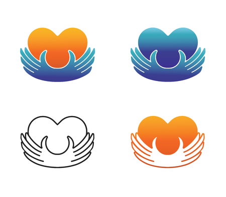 Four concept charity logo. Donor holding heart in their hands.Vector illustration flat design.Isolated on white background. Volunteer icon.Human helping. Healthcare.Team work Illustration