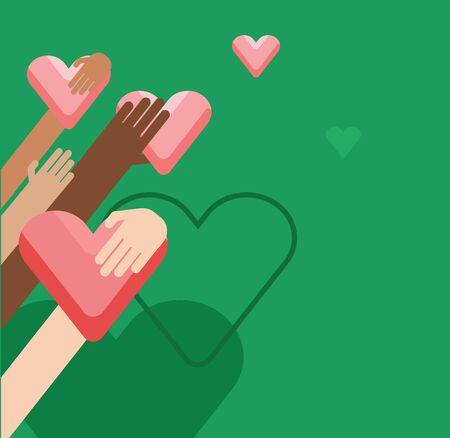 Illustration of hands holding hearts on a green background