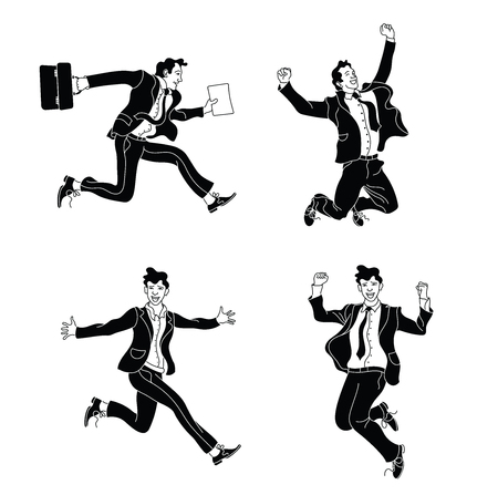Businessman in different emotions and expressions black silhouette. Businessperson in casual office look.various poses jumping people character. hand drawn style vector design.Jumping businessman