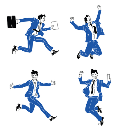 Businessman in different emotions and expressions. Businessperson in casual office look blue suit.various poses jumping people character. hand drawn style vector design.Jumping businessman  イラスト・ベクター素材