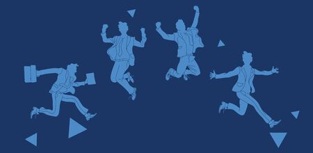 Businessman in different emotions and expressions. Businessperson in casual office look.various poses jumping people character. hand drawn style vector design blue background.Jumping businessman