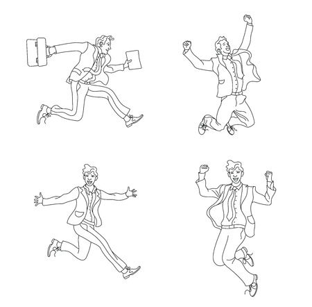 Jumping people outline isolated on white background.various poses jumping people character. hand drawn style vector design illustrations.happiness, freedom, motion and people concept.