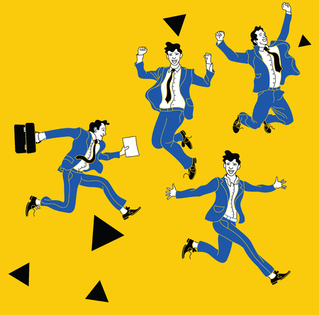 Businessman in different emotions and expressions. Businessperson in casual office look.various poses jumping people character. hand drawn vector design yellow poster. Jumping businessman  イラスト・ベクター素材