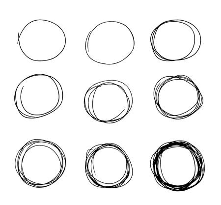 Hand drawn circle sketch set doodle. Pencil line vector. Hand drawn circle line sketch set. Vector circular scribble doodle round circles for message note mark design element. Pencil graffiti