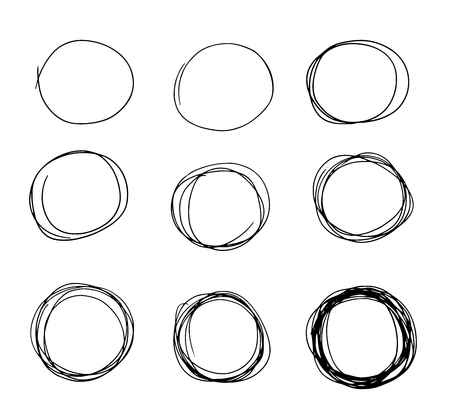Hand drawn circle sketch set doodle. Pencil line vector. Hand drawn circle line sketch set. Vector circular scribble doodle round circles for message note mark design element. Pencil graffiti