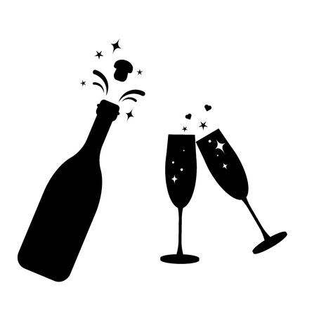 Botella de champán vector icono de cristal. Botella y dos vasos silueta negra iconos.