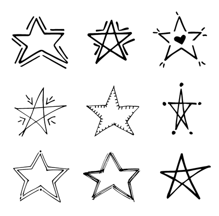 Stars doodle black vector geometric set. Cute hand drawn stars on white background.