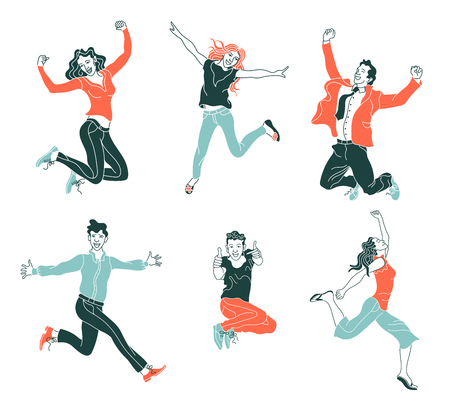 Jumping people isolated on white background.various poses jumping people character. hand drawn style vector design illustrations.happiness, freedom, motion and people concept.flat simple set of people Illustration
