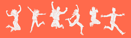 Jumping people silhouette on the orange background. hand drawn style vector design illustrations.happiness, freedom, motion and people concept.Horizontal banner  イラスト・ベクター素材