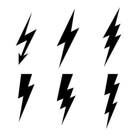 Lightning thunderbolt icon vector.Flash symbol illustration.Lighting Flash Set. Flat Style on white background. Black silhouette and lightning bolt icon.