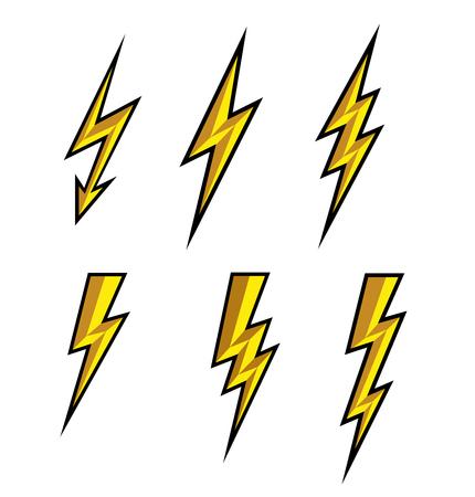 Lightning thunderbolt icon vector.Flash symbol illustration.Lighting Flash Icons Set. Flat Style on white background and black outline.Silhouette and lightning bolt icon. Set of yellow icons storm. Illustration
