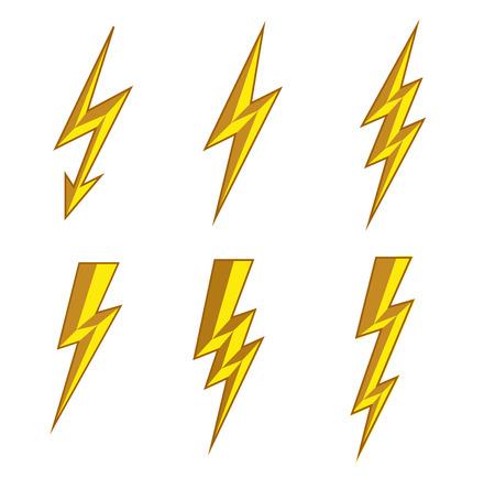 Lightning thunderbolt icon vector.Flash symbol illustration.Lighting Flash Icons Set. Flat Style on white Background.Silhouette and lightning bolt icon. Set of yellow icons storm.