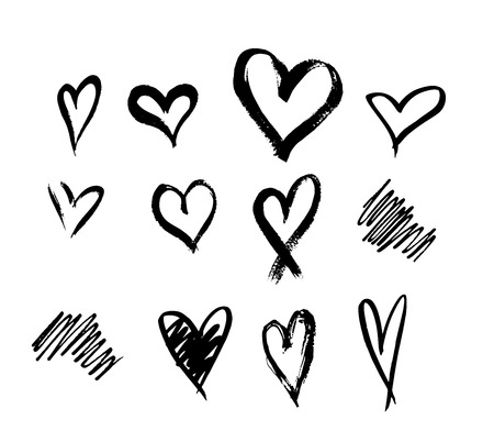 Set of ten outline hand drawn heart icon.Hand drawn doodle grunge heart vector set.Rough marker hearts isolated on white background. vector heart collection.Unique Painted