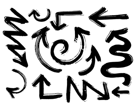 Vector abstract black hand drawn arrows set.Illustration of Grunge Sketch Handmade Vector Arrow Set.Arrow grunge vector.Watercolor Doodle Vector Arrow Set