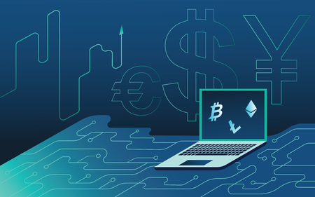 Isometric neon background.Mining bitcoin and crypto currency, mining server farm room, laptop, ultraviolet vector illustration isometric investment into cryptocurrency, analysis and statistics