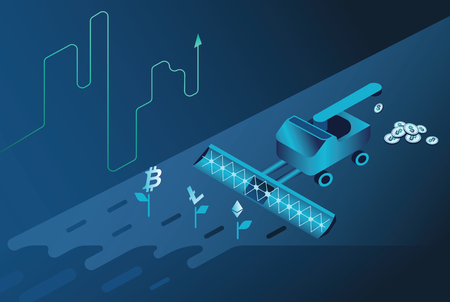 Isometric neon background.Mining bitcoin and crypto currency, ultraviolet vector illustration.Crypto currency mining farm server. data center, mainframe Isometric vector ultraviolet