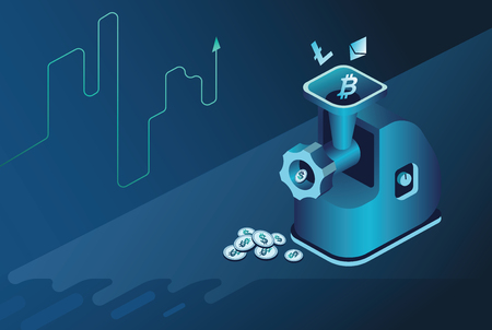 Isometric neon background.Mining bitcoin and crypto currency, ultraviolet vector illustration.Crypto currency mining farm server. data center, mainframe Isometric vector ultraviolet.Meat grinder Illustration