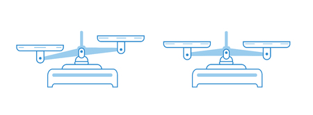 Balance scale icon set. Bowls of scales in balance, an imbalance of scales. Vector symbol illustration. Blue lines flat vector design.Precision Illustration
