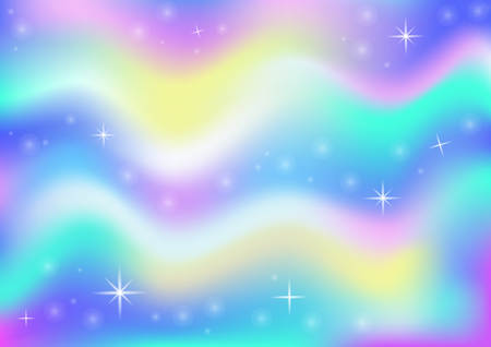 Fairy space magical glow background with rainbow mesh. Multicolor universe banner in princess colors. Fantasy gradient backdrop with hologram. Holographic fairy with magic sparkles and stars