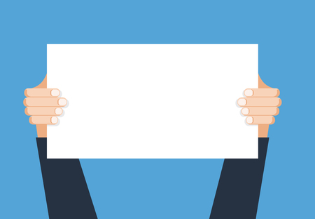 Hand holding placard.Vector flat cartoon illustration for web banners, infographic design. Empty protest sign.Propaganda poster.Announcement banner for advertising for new business