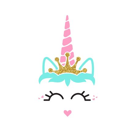 Cute unicorn face with crown. Unicorn head. Vector illustration.Cute illustration - card and shirt design.Gold glitter elements.Cartoon eyelashes extension.heart lips