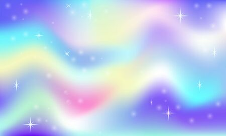 Fairy space magical glow background with rainbow mesh. Multicolor space space in princess colors. Fantasy pink gradient backdrop with hologram. Holographic fairy with magic stars sky
