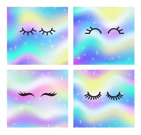 Vector cartoon eyelashes set.Long, fake eyelashes extension.Closed eyes.Different types of eyelash extensions. icon collection.Unicorn eyelashes card with magical glow space background