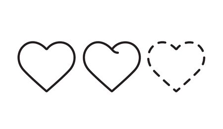 Heart line isolated on white background.Icons, concept of love.Set of outline icon.Hand drawn doodle grunge vector.