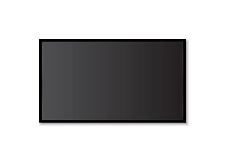Home realistic black television screen on a isolated baskgound. 3d blank TV led monitor - stock vector mockup.Modern glossy.Digital display technology