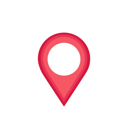 Pin icon red vector. Location icon. Map pointer. Arrow Pointer Mark Icon Vector Illustration on white background. Stock Illustratie