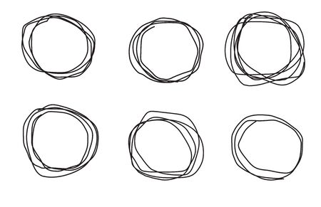 Hand drawn circles sketch frame super set. Rounds scribble line circles. Vector illustrations.Doodle geometric element.