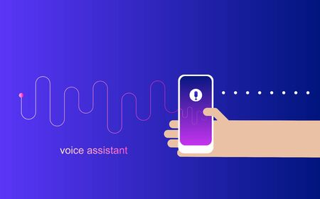 Personal assistant and voice recognition on mobile app.Voice intelligent.Technologies vector illustration of human hand holds smartphone with microphone button on screen and voice and sound symbol.