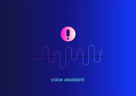 Personal assistant, voice intelligent technologies, recognition concept .Vector illustration of sound symbol intelligent technologies. Microphone button with voice and sound imitation line.