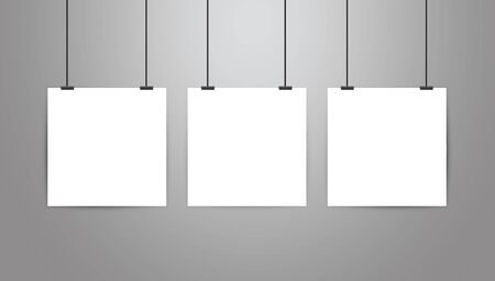 Poster frame mockup stationary.Three vector realistic white blank square form paper poster on gray gradient background.Hanging on a rope with binder clip.Empty poster design template.White wall
