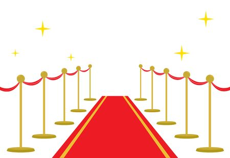 ?arpet red entrance vector celebrity vip.Golden barriers illustration.VIP event, luxury celebration.Party grand opening.Shiny cinema premiere.