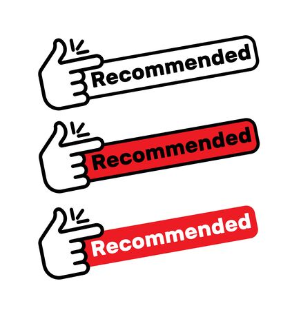 red vector illustration banner recommended with thumbs up. Brand best great sign tag