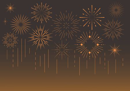 Vector colorful celebration festive fireworks for holiday, new year party. Birthday, carnival, independence day. Firework show in dark evening sky. Pyrotechnics background. Brown gradient.