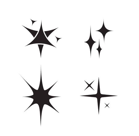 Set of black sparkles symbols vector.Original vector stars sparkle icon. Bright firework, decoration collection shiny twinkle, flash. Glowing light effect stars and bursts. Stock Illustratie