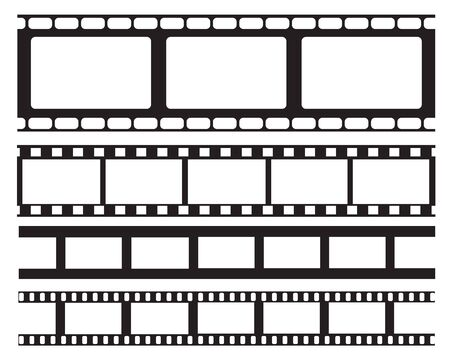 Set of old retro vntage film strip frame, vector illustration.Cinema frame. Movie tape. flat isolated on white background. Use for wed, banner, poster.