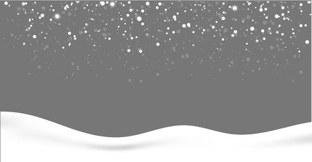 Seamless realistic falling snow or snowflakes.Isolated on gray background vector.Blizzard.Silver glitter.White bokeh festive.Shine bright. Stock Illustratie