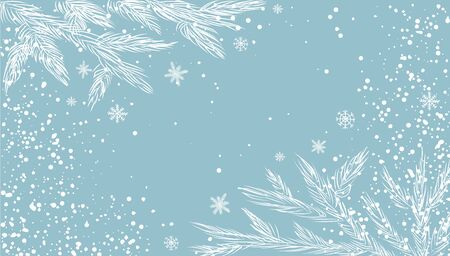Snowflakes white snow. Christmas Poster. Vector illustration background with branches of tree on blue.