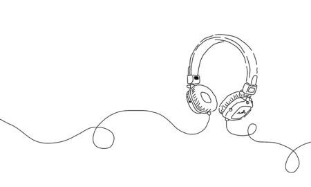 Stylized simple one line drawing of headphone speaker device gadget continuous lineart design isolated on white background. Music element for listening songs and playlist.