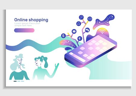 Online stores app isometric concept.Smart phone concept.Shopping banner, mobile app templates, vector illustration flat design.Landing page.Young Woman character.gifts, shopping items, credit Stock Illustratie