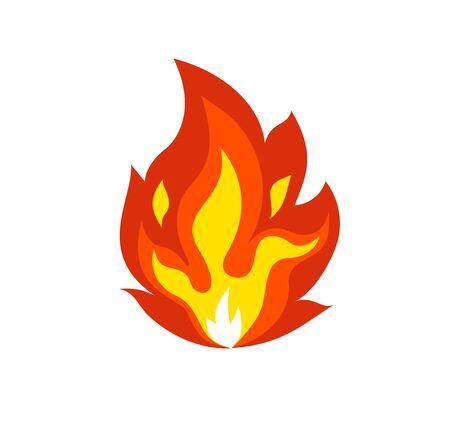 Isolated flame emoticon on white background.Vector cartoon fire icon emoji.Light effect, flaming symbols.Energy, animation illustration.Design symbol sign.burning element.