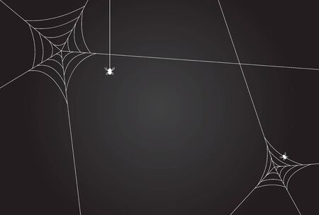 Cobweb, isolated on black, transparent background.Scary spider web vector illustration. White cobweb silhouette isolated on dark background. Spooky halloween decoration element.Gradient Stock Illustratie