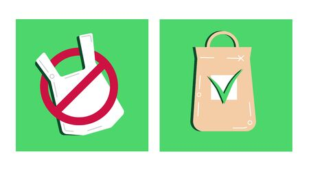 Pollution problem concept. Say no to plastic bags, textile bag. Cartoon styled images with signage stop using disposable polythene package and cellophane. Vector concept empty