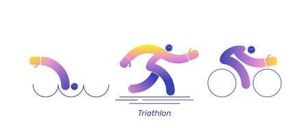 Triathlon activity vector sport bike. Ilustração