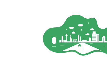 Concept of green city with building on earth. World environment day, flat style .Vector flat illustration of the Earth, save the planet, save energy, green poster.