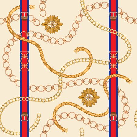 Seamless pattern with golden chain and baroque leaves. Vector patch for scarfs, print, fabric.Red belts, metallic accessories and jewelry.Italian motifs.Straps.Realistic vector.